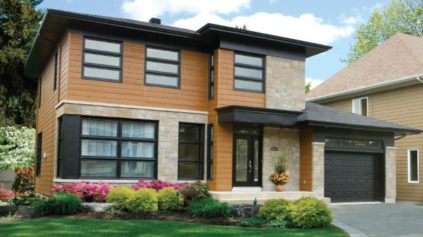 Деревянная отделка фасада дома