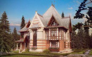 Фасад двухэтажного дома из кирпича