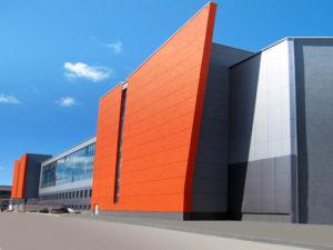 Навесной вентилируемый фасад из алюминиевых композитных панелей с учетом всего комплекса
