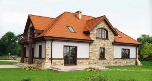 Вариант отделки фасада дома из газобетона