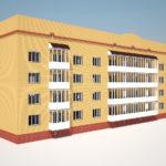 Четырехэтажный дом с красивым фасадом