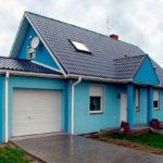 Декоративные современные панели для фасада голубого цвета