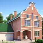 Дизайн фасада с красивым оформлением с тремя этажами