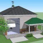 Дом с фасадом трехскатной крышей
