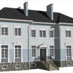 Дом с голубым красивым фасадом