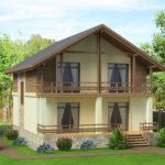 Двухэтажный дом с квадртаным фасадом