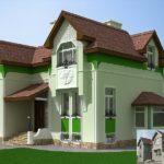 Фасад с привлекательным оливковом цвете
