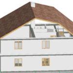 Фасад с трехскатной крышей