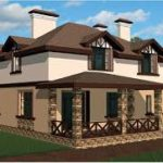 Фасад загородного дома с балконом
