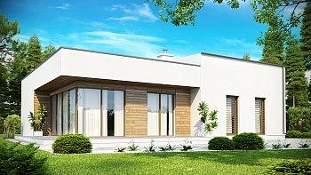 Функциональный фасад с современной плоской крышей