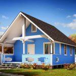 Красивый дом с фасадом из голубой плитки