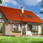 Красивый современный фасад с двухскатной крышей