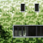 Необычные фасадные панели зеленого цвета