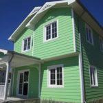 Панели светлого зеленого цвета для оформления фасада