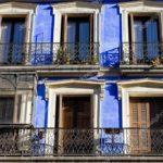 Применение фасада в синем цвете