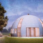 Пример современного фасада круглой формы