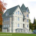 Пример современного фасада трехэтажного дома