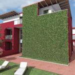 Приятная текстура зеленых панелей для фасада
