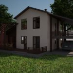 Проект дома с бежевым фасадом