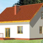 Проект фасада дома с квадратными окнами