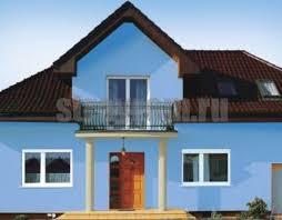 Штукатурный фасад голубого цвета