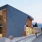 Современная фасадная плитка, выполненная в голубом цвете