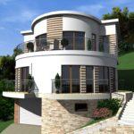 Стильное оформление круглого фасада