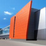 Светлые красные панели для фасада