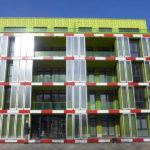Светлые панели зеленого цвета для фасада