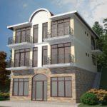 Трехэтажный красивый дом с современным фасадом