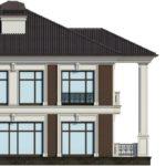 Вариант дома с фасадом с квадратные окна