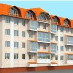 Вариант красивого фасада четырехэтажного дома