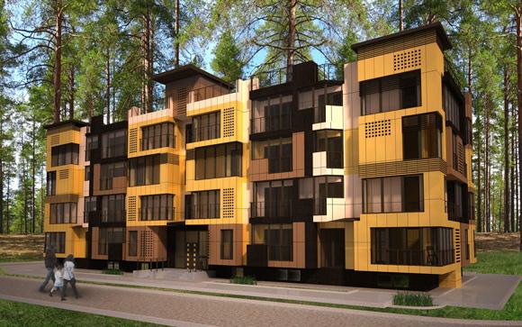 Яркий дизайн фасада жилого четырехэтажного дома