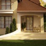 Вариант красивого фасада с помощью коричневой плитки
