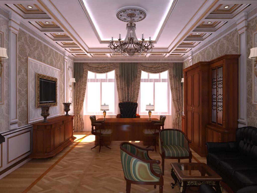 потолок для кабинета квартиры фото произвести впечатление