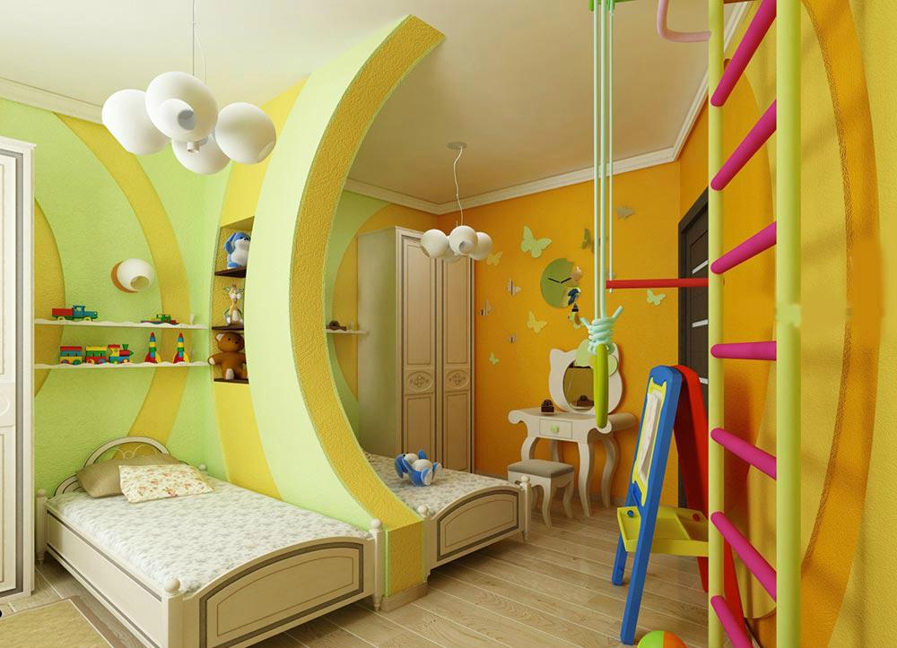 При создании красивого дизайна детской комнаты для разнополых детей необходимо ориентироваться на пол, возраст и личные пристрастия (любимые цвета, фильмы, книги) каждого ребёнка.