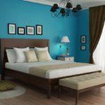 Спальня в коричнево-бирюзовых тонах