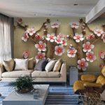 Креативные 3D обои над диваном