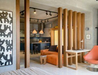 Деревянные перегородки для зонирования пространства: нетривиальное оформление интерьеров