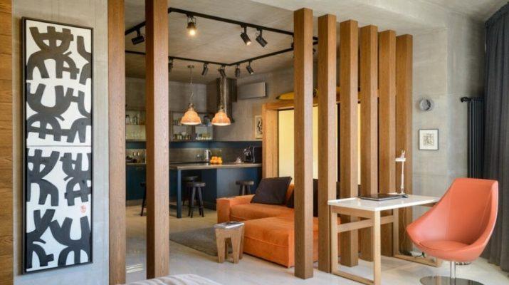 Деревянные перегородки для зонирования пространства
