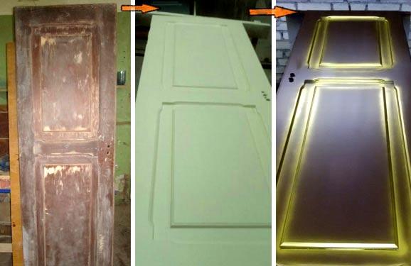 Этапы реставрации дверного полотна