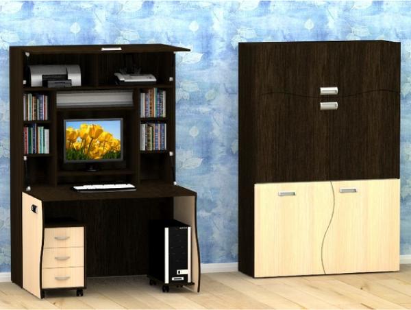 Стильное и скрытое рабочее место трансформер в квартире