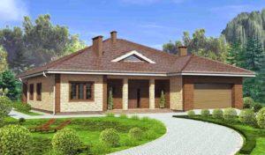 Дизайн фасада одноэтажного дома с гаражом