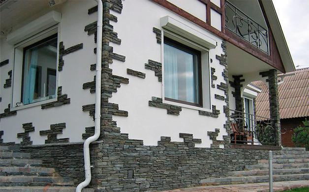Комбинированная наружная отделка стен