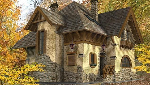 Красивое здание, отделанное клинкерной плиткой