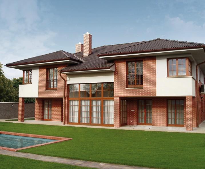 Облицовка деревянного дома клинкерной плиткой - комбинированная отделка фасада