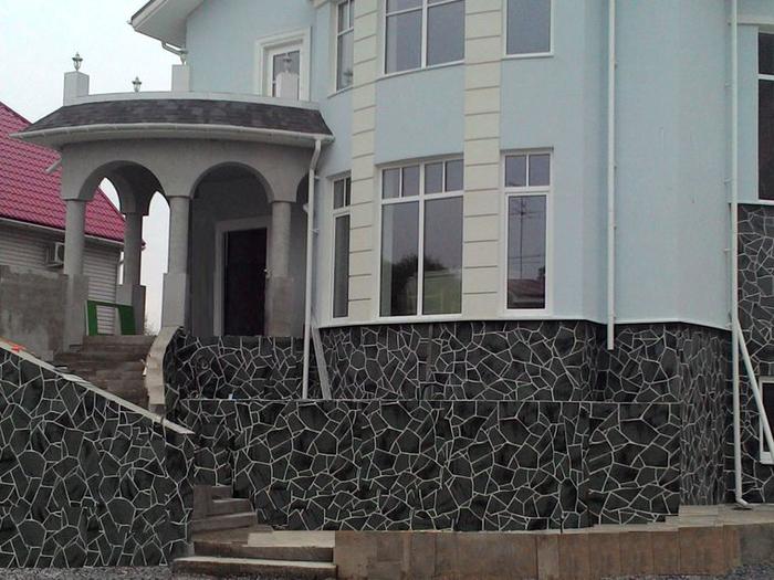 Отделка фасада гибкой плиткой