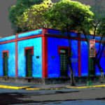 Дом, с облицованным фасадом голубого цвета