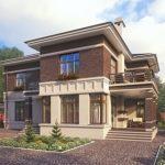 Дом с привлекательным фасадом, который имеет террасу