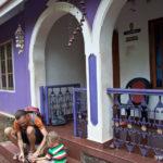 Фасад, оформленный в фиолетовом цвете